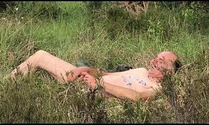 Sexsklave Spermalecker Outdor Play added to Sperm drinking of Voyeur