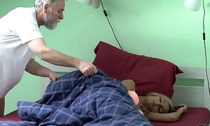 OLD4K. Winsome chick wakes up together with is ready for sexual connection with old husband