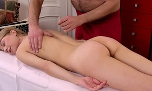 Hot Russian being massaged by an venerable dude