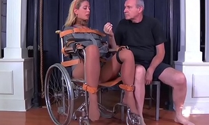 Blonde milf cherie deville tied gagged in a straitjacket and wheelchair therapy