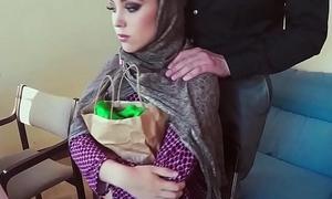 Faultless muslim babe tastes hot cum for cash